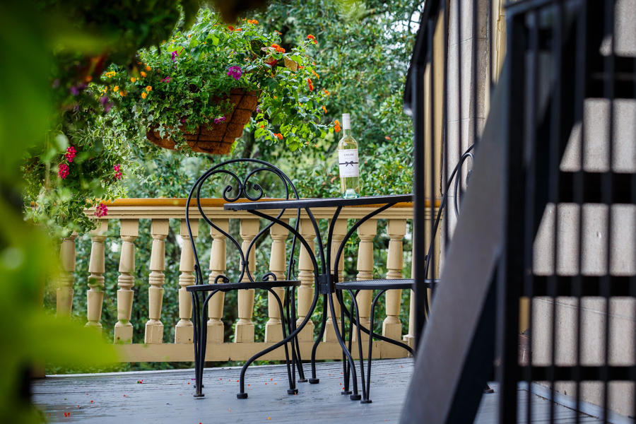 Wrought iron table and chairs are perfect for an outdoor breakfast at The Gastonian.
